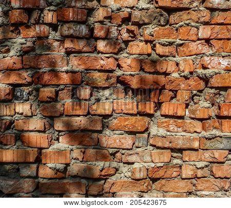 Brick wall. Brick background. Old brick wall. Rough brick wall. Grunge brick. Brick texture. Brick