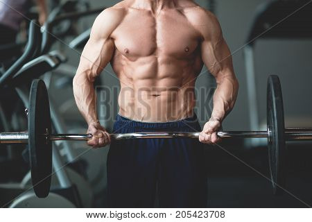 Strong man with muscular body working out in gym. Weight exercise with barbell in fitness club. Toned image.