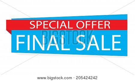 special offer final sale banner on white background. special offer blue label.
