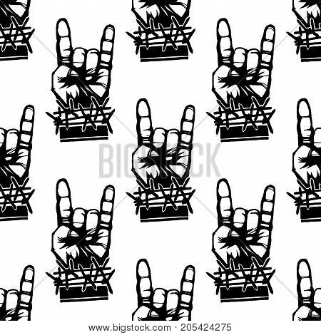 Heavy rock music seamless pattern vector vintage background with punk symbols. Hard sound sticker print creative recording hipster classic template.