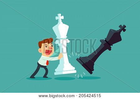 Businessman moving giant white chess piece against black chess piece. Business plan and strategy concept.