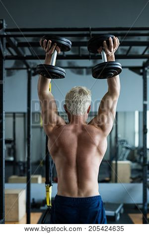 Muscular athlete man making dumbell exercise. Bodybuilder training in fitness club showing his perfect back and shoulder muscles