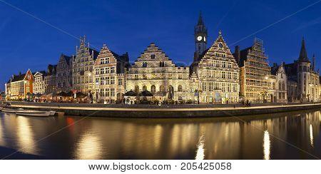Ghent Panorama At Night, Belgium