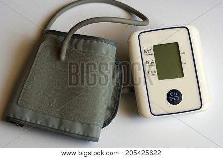 Medical device: electronic tonometer close-up on white background