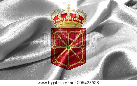 Realistic flag of Navarra coat of arms on the wavy surface of fabric. This flag can be used in design