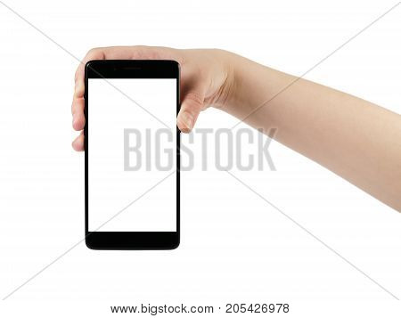young female hand holding smartphone isolated on white background