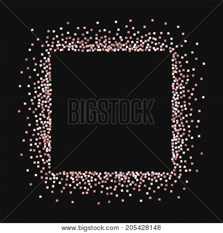 Pink Gold Glitter. Square Abstract Mess With Pink Gold Glitter On Black Background. Splendid Vector