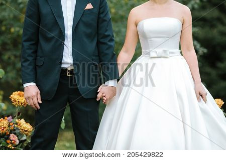 fashion, event, occasion concept. ravishing couple of young lovers dressed in wedding suits, shapely bride is in the marvelous dress of classical style, fiance is wearing elegant costume