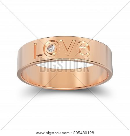3D illustration isolated rose gold engagement ring with diamond and love word with shadow on a white background