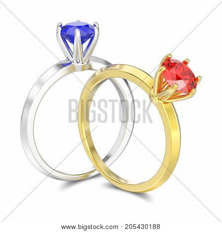 3D illustration tow isolated white gold or silver sapphire and yellow gold ruby traditional solitaire engagement diamond rings with shadow on a white background