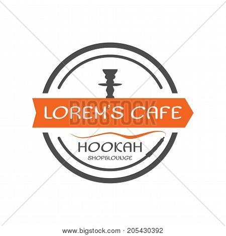 Hookah label, badge. Vintage shisha round style logo. Lounge cafe emblem. Arabian bar or house, shop. Isolated. Stock vector illustration.