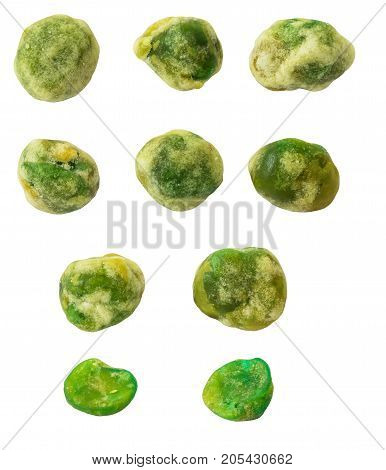 Baked green peas are coated with salty sweet flour isolated on white background. (clipping path included)