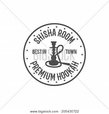 Hookah relax label, badge. Vintage shisha room logo. Lounge cafe emblem. Arabian bar or house, shop. Isolated. Stock vector illustration. Monochrome design.