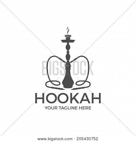 Hookah relax label, badge. Vintage shisha logo. Lounge cafe emblem. Arabian bar or house, shop. Isolated. Stock vector illustration