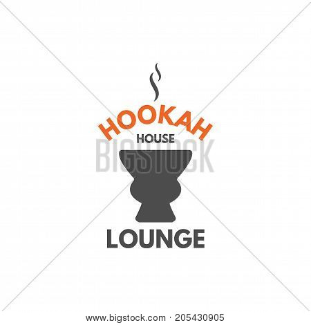 Hookah relax label, badge. Vintage shisha logo with hookah bowl symbol. Lounge cafe emblem. Arabian bar or house, shop. Isolated. Stock vector illustration.