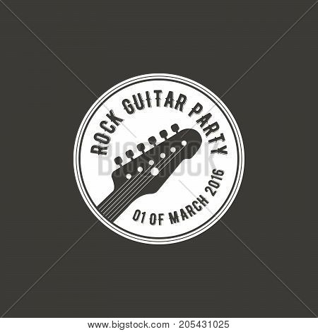 Rock guitar party vector label, badge, emblem logo with musical instrument. Stock vector illustration isolated on dark background.