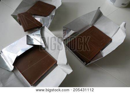 Portion Of Sweet Milk Brown Chocolate