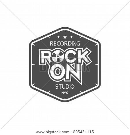 Rock on. Recording studio vector label, badge, emblem logo with musical instrument. Stock vector illustration isolated on white background.