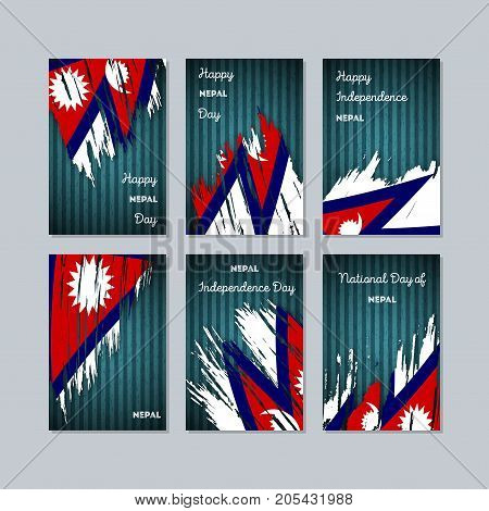 Nepal Patriotic Cards For National Day. Expressive Brush Stroke In National Flag Colors On Dark Stri