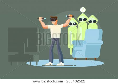 Cool vector concept on virtual reality headset in use. Guy experiences full immersion into virtual reality trying to touch non-physical object. Man character enjoying VR device