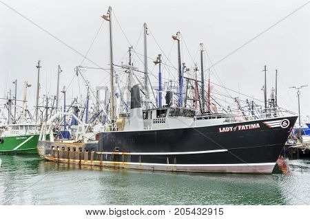 New Bedford Massachusetts USA - September 23 2017: Fishing vessel Lady of Fatima on New Bedford waterfront at the Working Waterfront Festival