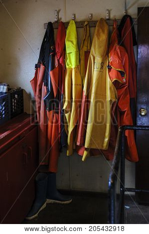 Rack of foul weather gear called oilskins or oilies aboard New Bedford scalloper