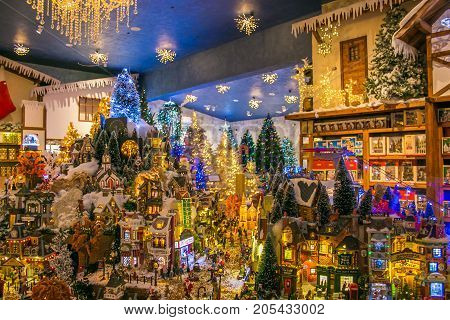 VETRALLA, ITALY - SEPTEMBER 23, 2017: Miniature of christmas village at the reign of Santa Claus shop