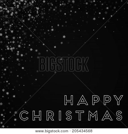 Happy Christmas Greeting Card. Beautiful Snowfall Background. Beautiful Snowfall On Red Background.