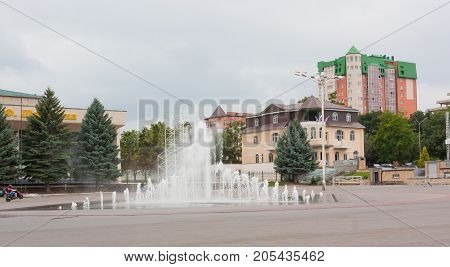 YESSENTUKI, RUSSIA - AUGUST 5, 2013: The fountain in the centre of Yessentuki. Essentuki is a city resort located in the Caucasian Mineral waters
