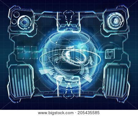 HUD interface concept futuristic virtual graphic touch user. Futuristic user interface. Element user interface. HUD. hi-tech main. Earth Hologram. 3D Rendering. 3D illustration