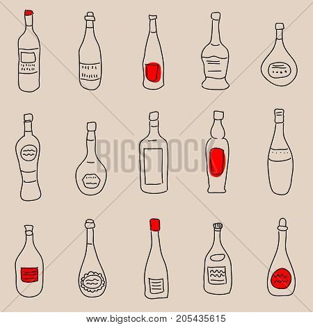 Vintage seamless background with a different bottles of drinks