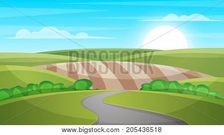 Cartoon landscape illustration. Sun. cloud hill Vector eps 10
