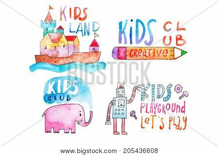 Watercolor set of kids club and playground logos. Hand-drawn collection of promotional symbols with calligraphic letterings for children entertaining center.