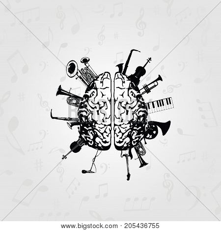 Music design vector. Black and white human brain with music instruments vector illustration