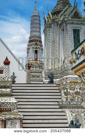 Stairs from the Temple of the Dawn Wat Arun in Bangkok
