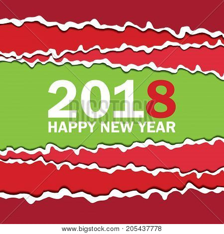Vector creeting Happy New 2018 Year card. Paper cut effect. Modern ripped background. Christmas banner. Torn paper tape for various purposes. Green red white color