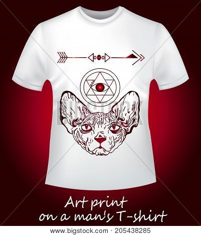 A close-up is a white T-shirt with an interesting print. Angry sphinx and abstraction geometry.