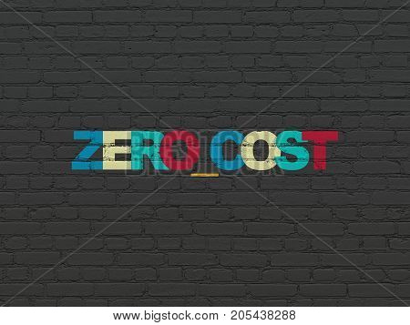 Business concept: Painted multicolor text Zero cost on Black Brick wall background