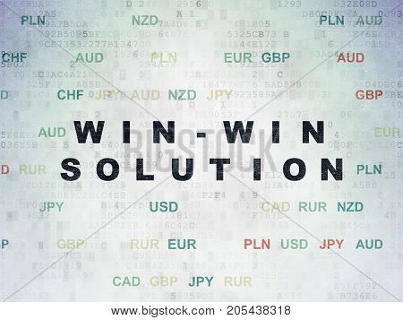 Business concept: Painted black text Win-win Solution on Digital Data Paper background with Currency