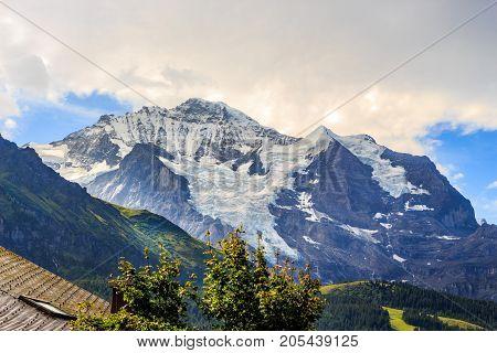 Mountain Jungfrau in the Bernese Alps in summer. Wengen Bernese Oberland Switzerland