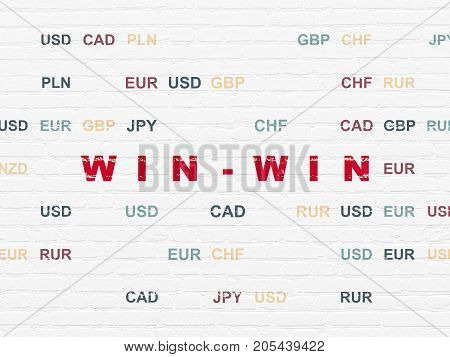 Business concept: Painted red text Win-Win on White Brick wall background with Currency