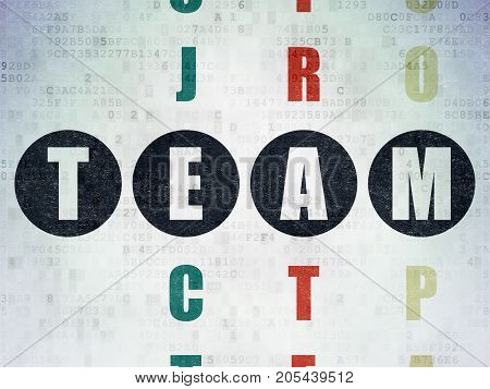 Finance concept: Painted black word Team in solving Crossword Puzzle on Digital Data Paper background