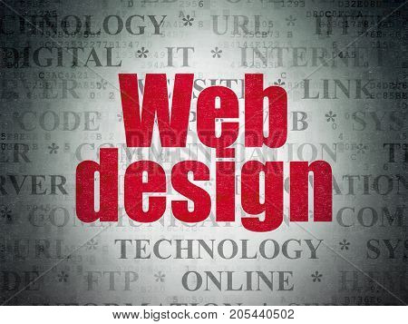 Web development concept: Painted red text Web Design on Digital Data Paper background with   Tag Cloud