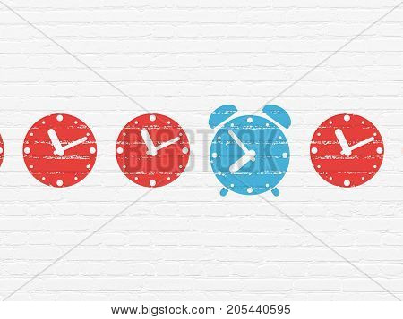 Time concept: row of Painted red clock icons around blue alarm clock icon on White Brick wall background
