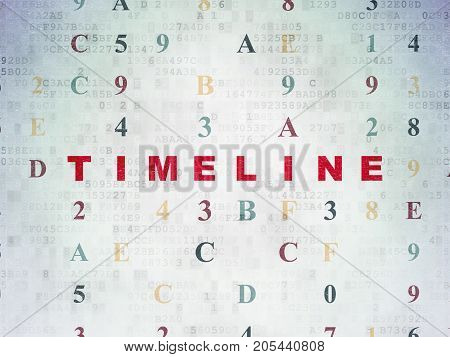 Timeline concept: Painted red text Timeline on Digital Data Paper background with Hexadecimal Code