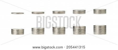 pile of silver coins stack and growing money graph on 1 to 10 rows of coin isolated on white background with clip path. Income profits finance Investment Interest and Saving money concept.