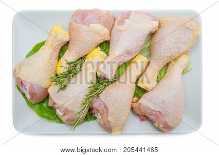 Chicken Thighs On White Plate And White Background