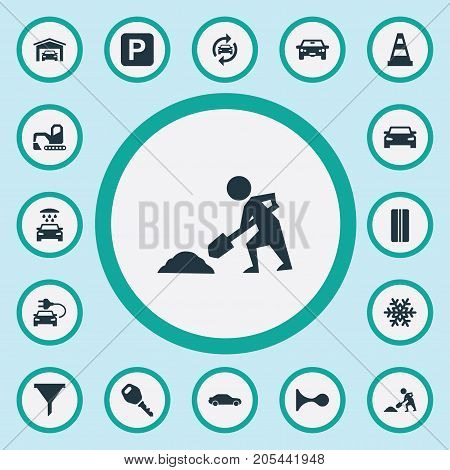 Elements Lock, Filter, Builder And Other Synonyms Motorcar, Key And Tread.  Vector Illustration Set Of Simple Car Icons.