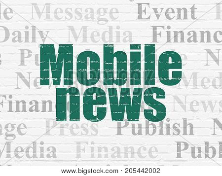 News concept: Painted green text Mobile News on White Brick wall background with  Tag Cloud