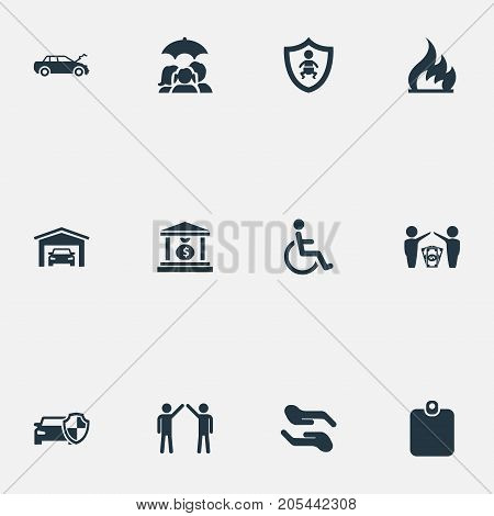 Elements Vehicle Assurance, Banking House, Job Accord And Other Synonyms Garage, Fire And Protection.  Vector Illustration Set Of Simple Fuse Icons.